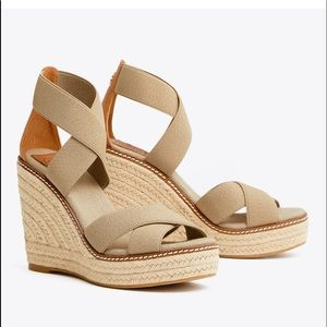 NIB TORY BURCH FRIEDA ESPADRILLE WEDGE sz 10